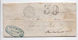 - Lettre SAINT-LOUP-SUR-SEMOUSE (Haute-Saône) Pour CHALON-SUR-SAÔNE 17 MARS 1862 - Taxe Tampon 30 Centimes - - Marcofilie (Brieven)
