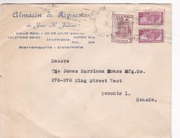 """COLOMBIA - """"ALMACEN DE REPUESTOS"""" COMMERCIAL COVER CIRCULATED FROM BARRANQUILLA TO TORONTO, CANADA IN 1948 -LILHU - Colombia"""