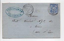 - Boite Rurale VINS François BESANCON, LIÉVANS Via NOROY-LE-BOURG (Haute-Saône) Pour TOURNUS 16 SEPT 1876 - - Marcofilie (Brieven)