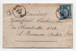 - Boite Rurale BRUSSEY Via MARNAY (Haute-Saône) Pour BESANCON (Doubs) 20 DEC 1877 - 25 C. Bleu Type Sage - - Marcofilie (Brieven)