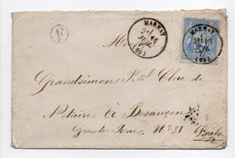 - Boite Rurale CUGNEY Via MARNAY (Haute-Saône) Pour BESANCON (Doubs) 16 JUIL 1877 - 25 C. Outremer Type Sage - - Marcofilie (Brieven)