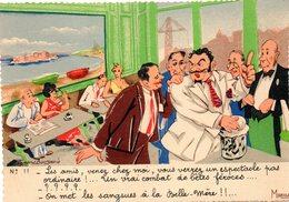 CPM  - Humour Marseillais  -  Au Café  -    Neuve- TBE - Humour