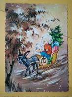 KOV 8-176 - NEW YEAR, Bonne Annee, Children, Enfant, SLEDGE, LUGE, DONKEY - Nouvel An
