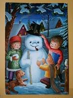 KOV 8-176 - NEW YEAR, Bonne Annee, Children, Enfant,  Snowman, Bonhomme De Neige, DOG, CHIEN - Nouvel An
