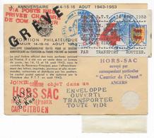 GREVE De 1953 - ENVELOPPE HORS-SAC De SAUMUR (MAINE ET LOIRE) Avec VIGNETTES CHAMBRE De COMMERCE (DOS) - Marcofilie (Brieven)