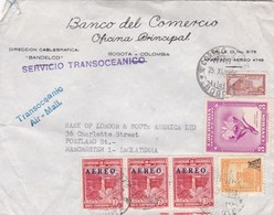 """COLOMBIA - """"BANCO DEL COMERCIO"""" COMMERCIAL COVER CIRCULATED FROM BOGOTA TO MANCHESTER, ENGLAND IN 1953 -LILHU - Colombia"""