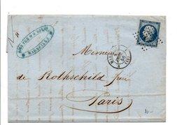 LETTRE DE MARSEILLE POUR PARIS 1856 - Marcophilie (Lettres)