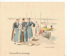 Gravure Couleur J H BONNEFOY, Coin Du Port à LOCTUDY - Prints & Engravings