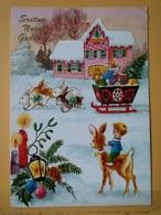 KOV 8-176 - NEW YEAR, Bonne Annee, Children, Enfant, Fawn, Faon, RABBIT, LAPIN - Nouvel An