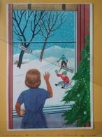 KOV 8-176 - NEW YEAR, Bonne Annee, Children, Enfant, SKI SPORT - New Year