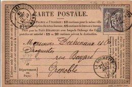 SAGE SUR CARTE DE LA ROCHETTE 1875 - Marcophilie (Lettres)
