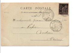 SAGE SUR CARTE DE GARE D'AIX LES BAINS 1901 - Marcophilie (Lettres)
