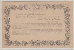 MILITARI/ C - CARTOLINA GUERRA - AI PADRI,AI FRATELLI COMBATTENTI..... - PASQUA 1918 - Guerra 1914-18