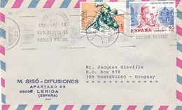 ESPAÑA - COMMERCIAL COVER CIRCULATED FROM LERIDA / LLEIDA TO MONTEVIDEO, URUGUAY IN 1986 BY AIR MAIL -LILHU - 1981-90 Cartas