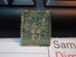 Timbre Sage  5 C Oblitéré. PARIS 45 - 1876-1898 Sage (Type II)