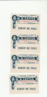 """4 ÉTIQUETTES (7x4.2 Cm) """"SIROP DE TOLU"""" PHARMACIE AUBERTIN """"A.LÉPICE""""21 RUE DE LA GARE GÉRARDMER (88) - Etiquetas"""