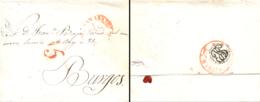 D.P. 25. 1848 (3 NOV). Carta De Granada A Burgos. Marca P.E. 28R, Porte 15 Y Llegada P.E. 29N De Burgos. Rara. - Spanje