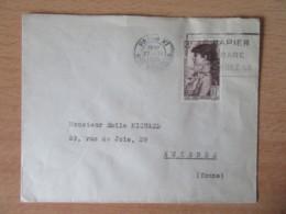 """Enveloppe Avec Timbre Sarah Bernhardt YT N°738 - Circulée Le 27 Novembre 1945 - Flamme """"Le Papier Est Rare"""" - France"""