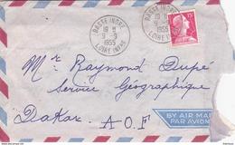 Daguin Solo Basse Indre Loire Atlantique 1955 Muller Dakar AOF - Poststempel (Briefe)