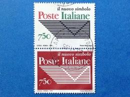 1994 ITALIA ENTE POSTE NUOVO SIMBOLO DITTICO FRANCOBOLLI USATI ITALY STAMPS USED - 1946-.. Republiek