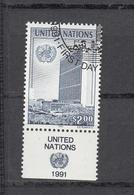 NATIONS  UNIES  NEW-YORK    1991    N° 590-593-594  OBLITERES   CATALOGUE YVERT&TELLIER - New-York - Siège De L'ONU