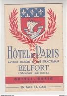 Au Plus Rapide Dépliant Publicitaire Hôtel De Paris Belfort Années 50 Excellent état - Publicités