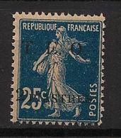 Syrie - 1919 - N°Yv. 7 - Semeuse 2pi Sur 25c Bleu - Neuf Luxe ** / MNH / Postfrisch - Syrie (1919-1945)