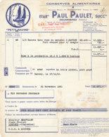 FA 1625 - FACTURE - CONSERVES ALIMENTAIRES  PETIT NAVIRE ETS PAUL PAULET  DOUARNENEZ FINISTERE    1951 - Alimentaire