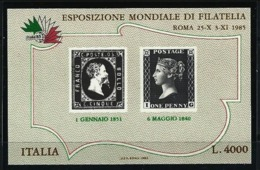 ITALIA  REP.  - 1985 - Mondiale Filatelia  N. 1  - Foglietto - Nuovo ** 4000 Lire  - Lotto 140 Bis - Blocchi & Foglietti