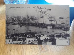 Cpa Constantinople Vue Du Port. Contrôle Interallié De La Police Turque 1922 - Turquia