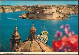 °°° 15060 - MALTA - VALLETTA - THE GRAND HARBOUR - 1977 With Stamps °°° - Malta