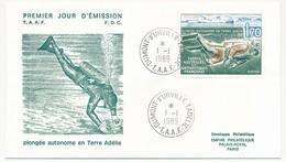 TAAF - Enveloppe FDC - 1,70 Plongée Autonome... - Dumont D'Urville Terre Adélie - 1-1-1989 - FDC