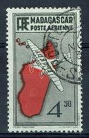 Madagascar (French Colony), 4f.50, Map Of The Island, 1935, VFU Airmail - Madagascar (1889-1960)