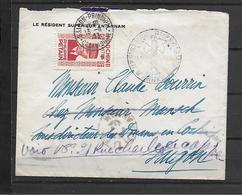 LETTRE A EN TETE RESIDENT SUPERIEUR EN ANNAM + CACHET FRANCISQUE + PETAIN - Indochina (1889-1945)