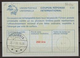 DANEMARK / DENMARK La23A 250 öreInternational Reply Coupon Reponse Antwortschein Svarkupon IRC IAS O TORSHAVN 25.2.80 - Enteros Postales