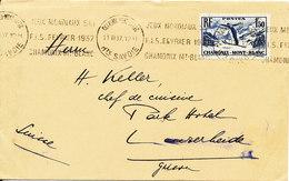 France Cover Sent To Switzerland 11-2-1937 Single Franked Jeux Mondiaux Ski F.I.S. Fevrier 1937 Chamonix Mt-Blanc - France