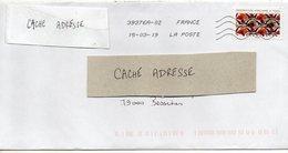 """2019-- Tp  Adhésif  """" Inspiration Africaine--Tissu """" - Seul Sur Lettre  -- - Marcophilie (Lettres)"""