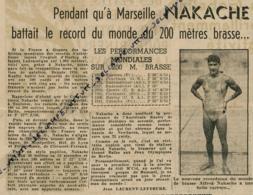 Natation, Juillet 1941 : Alfred Nakache Bat Le Record Du Monde Du 200 Mètres Brasse à Marseille, Cercle Des Nageurs... - Collections