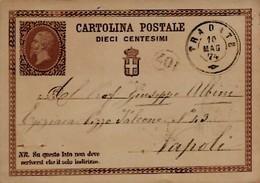 Intero C1 ; Tradate 10-5-1874 Per Napoli (buchi Di Spillo In Basso) - 1861-78 Victor Emmanuel II.