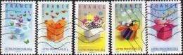 Oblitération Moderne Sur Adhésif De France N°  129 à 133 Ou 4082 à 4086 - Messages - Invitation, Merci - Boîtes - Oblitérés