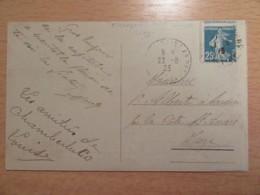 Variété Timbre Semeuse 25c YT N°140 - Piquage à Cheval - Sur CP Chambéry - Circulée En 1923 - France