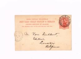 Entier Postal à 1 Penny.Expédié De Dublin à Louvain (Belgique) - Interi Postali