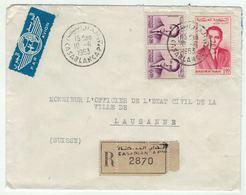 Maroc // Lettre Recommandée De Casablanca Pour La Suisse - Maroc (1956-...)