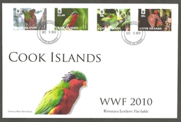 Cook Islands - Parrots (WWF), FDC, 2010 - Parrots