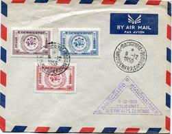 CAMBODGE LETTRE PAR AVION AFFRANCHIE AVEC LES N°78/80 + CACHET 9-12-1959 SOLIDARITE DES ENFANTS DU MONDE + OBL.PHNOMPENH - Camboya