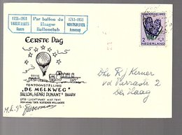 1953 EARLY Balloon Flight De Melkweg Henri Dunant Baarn SIGNED BOESMAN  (FR-4) - Storia Postale