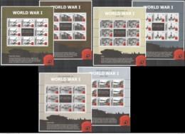 41.- GIBRALTAR 2015 SIX COMPLETE SHEETS  FIRST WORLD WAR - MACHINE GUNS - Prima Guerra Mondiale