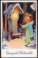 D1115 - Glückwunschkarte Weihnachten - Engel Angel Winterlandschaft Bildstock - Noël