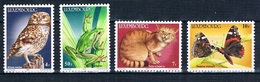 Luxembourg 1985 Luxemburg Mi 1133-1136 Owl, Frog, Cat. Butterfly / Eule, Frosch, Katze. Schmetterling **/MNH - Hiboux & Chouettes