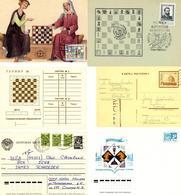 Schach, 1894/1988, Ca. 40 Briefe, Karten Und Ganzsachen Zum Thema Schach,  Dabei Schachkorrespondenz U.a. Russische Ganz - Schach